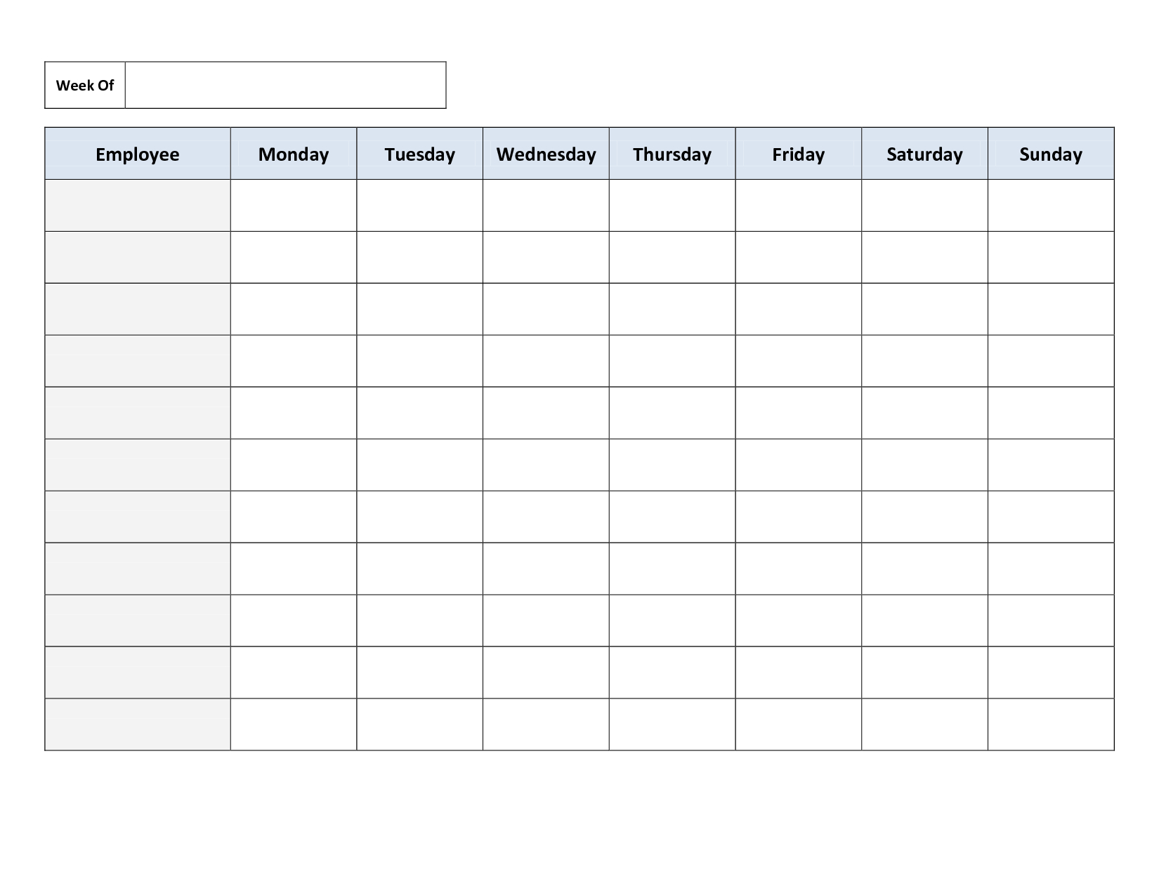 Weekly Employee Work Schedule Template. Free Blank Schedule.pdf - Free Printable Weekly Work Schedule