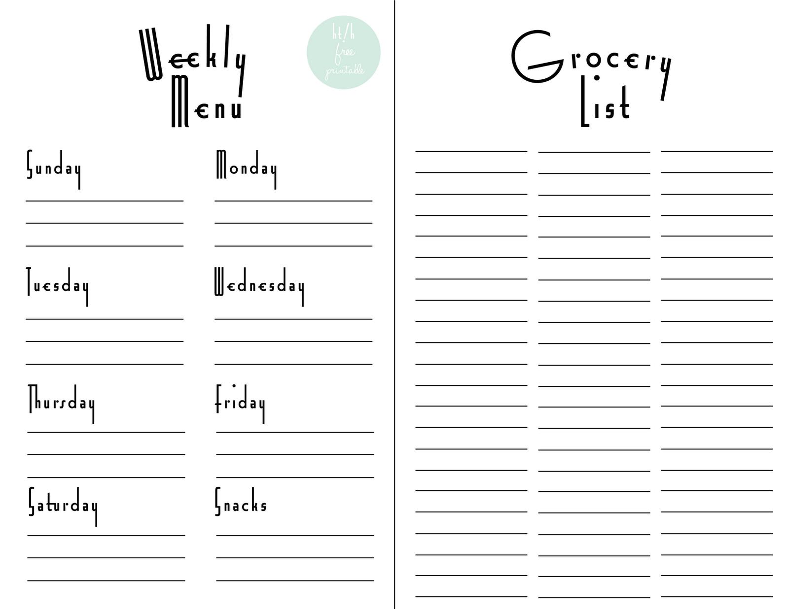 Weekly Menu Planner & Grocery List Free Printable | For The Home - Free Printable Grocery List And Meal Planner