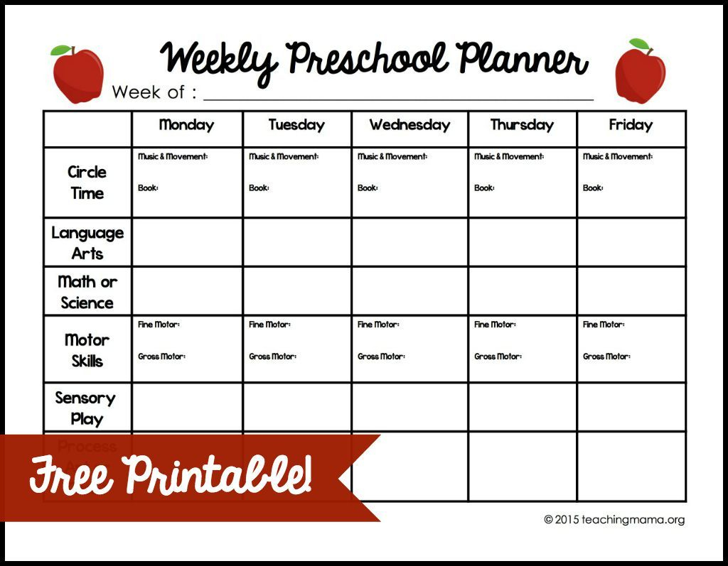 Weekly Preschool Planner {Free Printable} If You Teach Preschool At - Free Printable Preschool Teacher Resources
