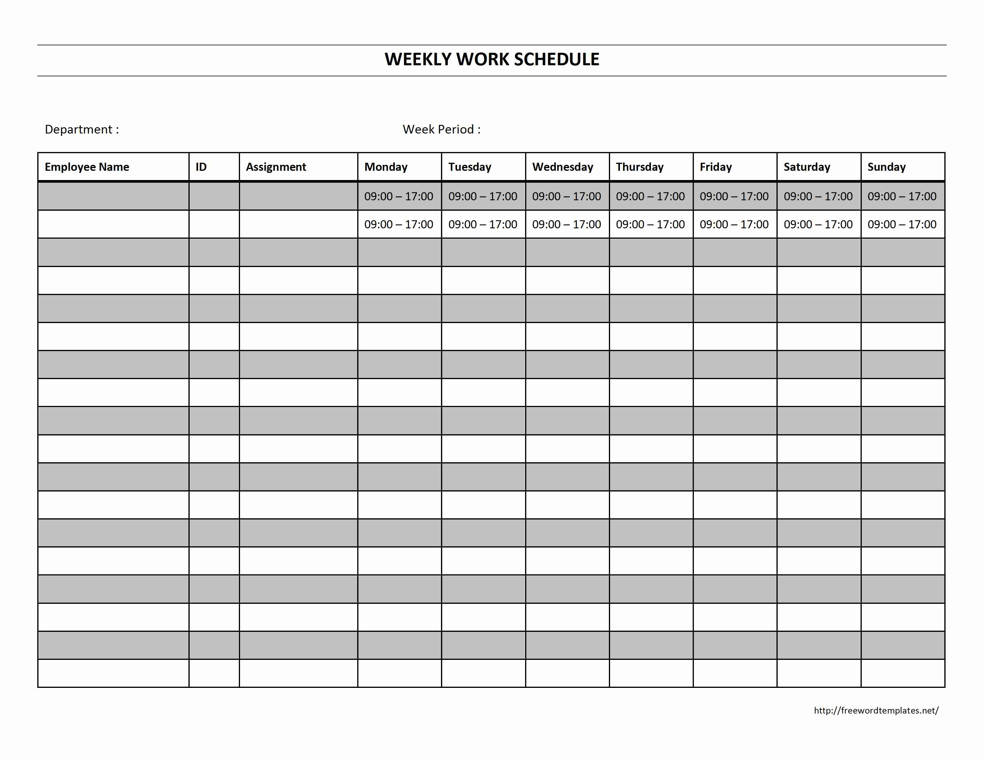 Weekly Work Schedule - Free Printable Monthly Work Schedule Template