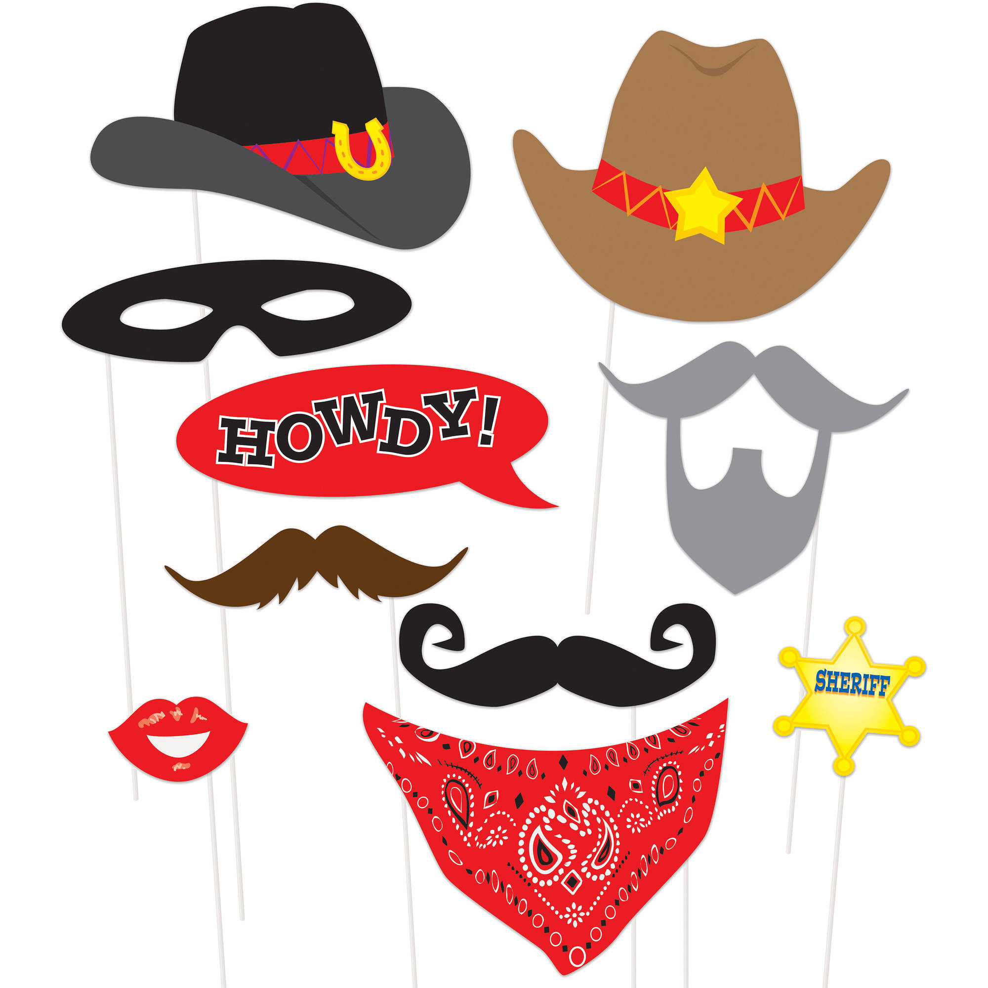 Western Photo Booth Props, 10Pc - Walmart - Free Printable Western Photo Props