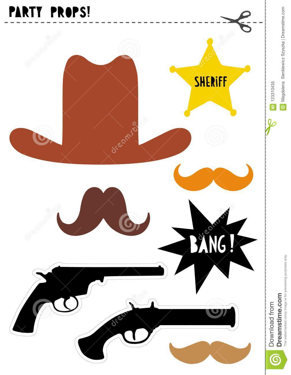 Wild West Photo Booth Vector Props Set. Diy. Cowboy Party. Stock - Free Printable Western Photo Props