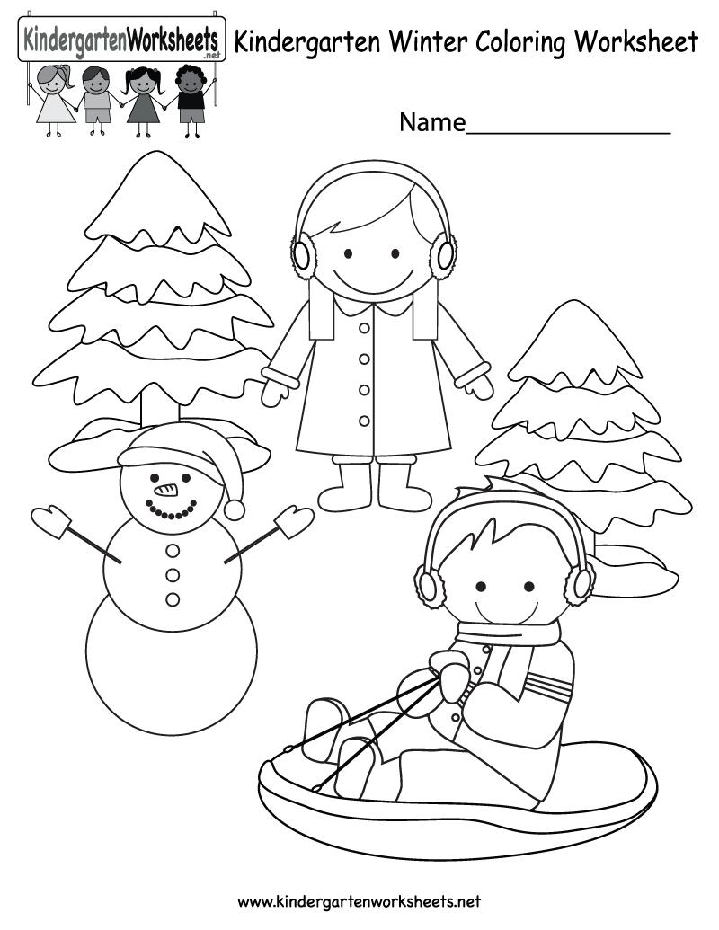 Winter Coloring Worksheet - Free Kindergarten Seasonal Worksheet For - Free Printable Winter Preschool Worksheets
