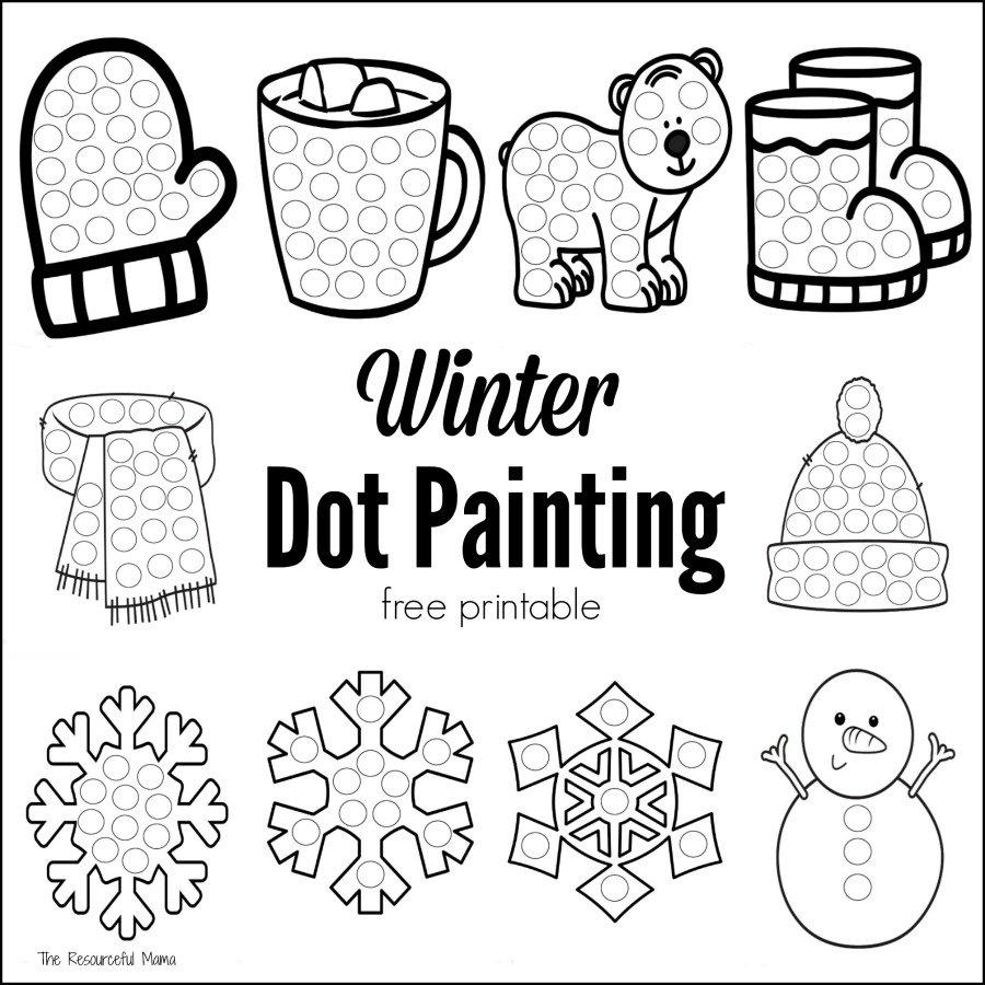 Winter Dot Painting {Free Printable} - The Resourceful Mama - Free Printable Dot To Dot Easy