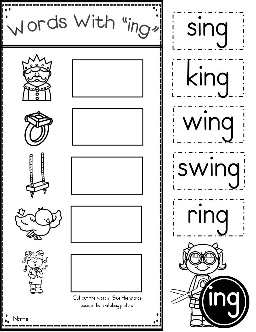 Word Family Ing Phonics Practice Printables Kindergarten Tales Pre - Free Printable Rhyming Activities For Kindergarten