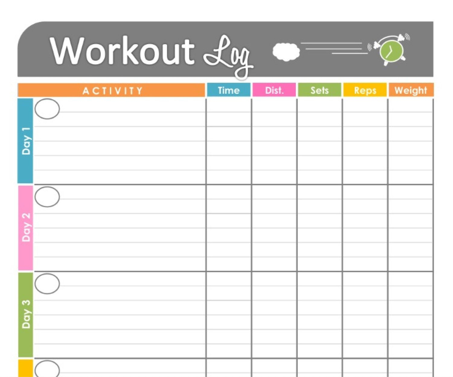Workout Log Exercise Log Printable Forfreshandorganized, $3.50 - Free Printable Fitness Log