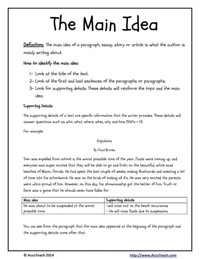 Worksheet Main Idea Worksheets For 3Rd Grade Fun Exercises Multiple - Free Printable Main Idea Worksheets