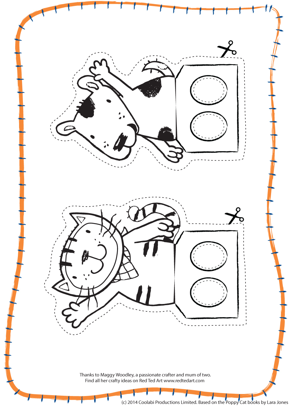World Cup Crafts - Poppy Cat Finger Football - Red Ted Art's Blog - Free Printable Finger Puppet Templates