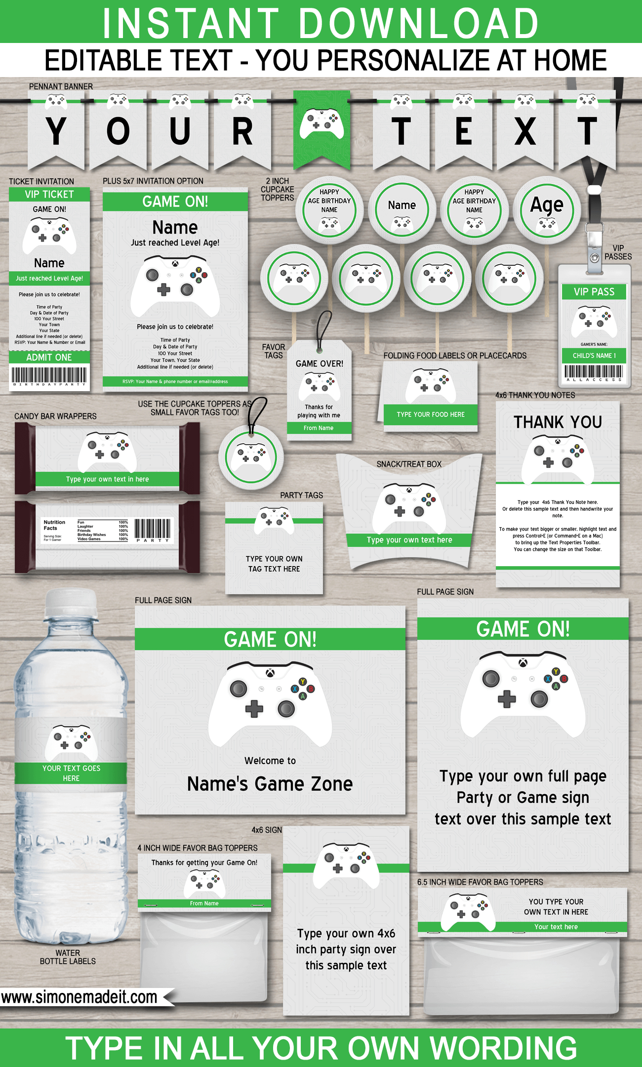 Xbox Party Printables, Invitations & Decorations | Video Game Party - Free Printable Video Game Party Invitations