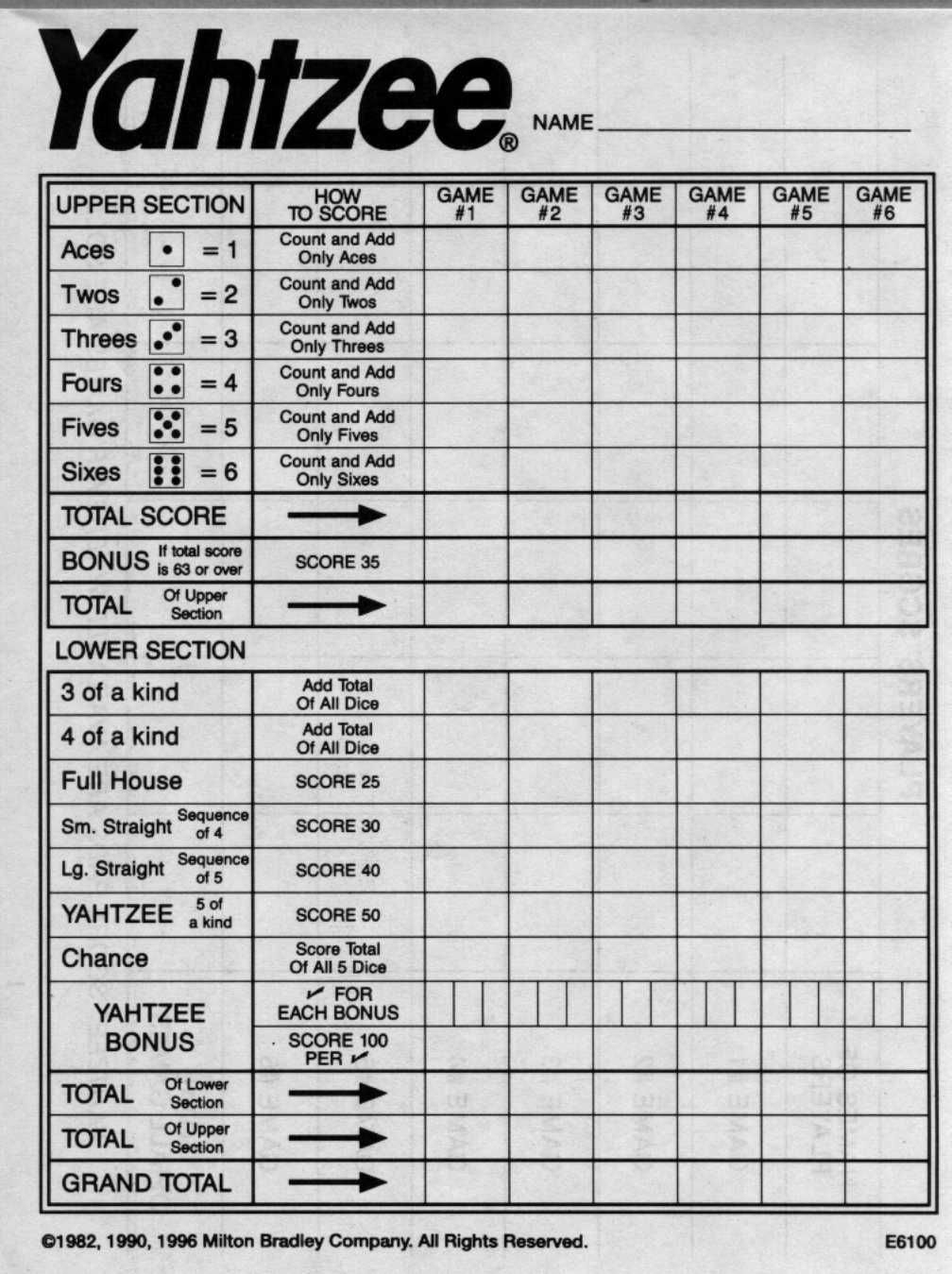 Yahtzee Score Sheets Free Printable | Blank Yahtzee Score Sheet - Free Printable Yahtzee Score Sheets