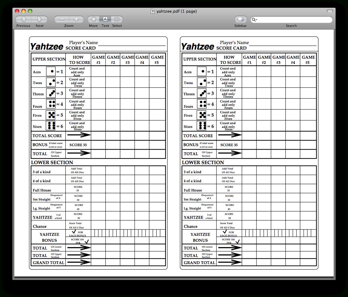 Yahtzee Score Sheets Printable | Kiddo Shelter - Free Printable Yahtzee Score Sheets