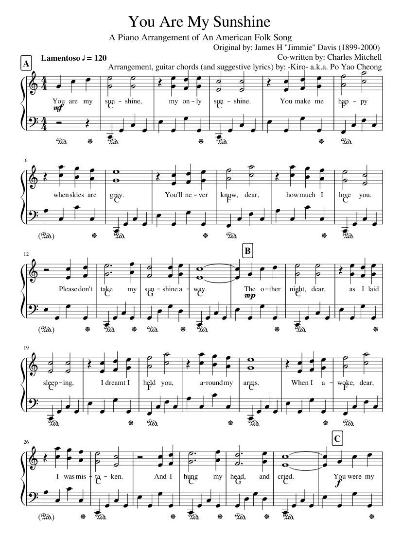 You Are My Sunshine | Sheet Music For Piano | Musescore | Music In - Free Printable Piano Sheet Music For You Are My Sunshine