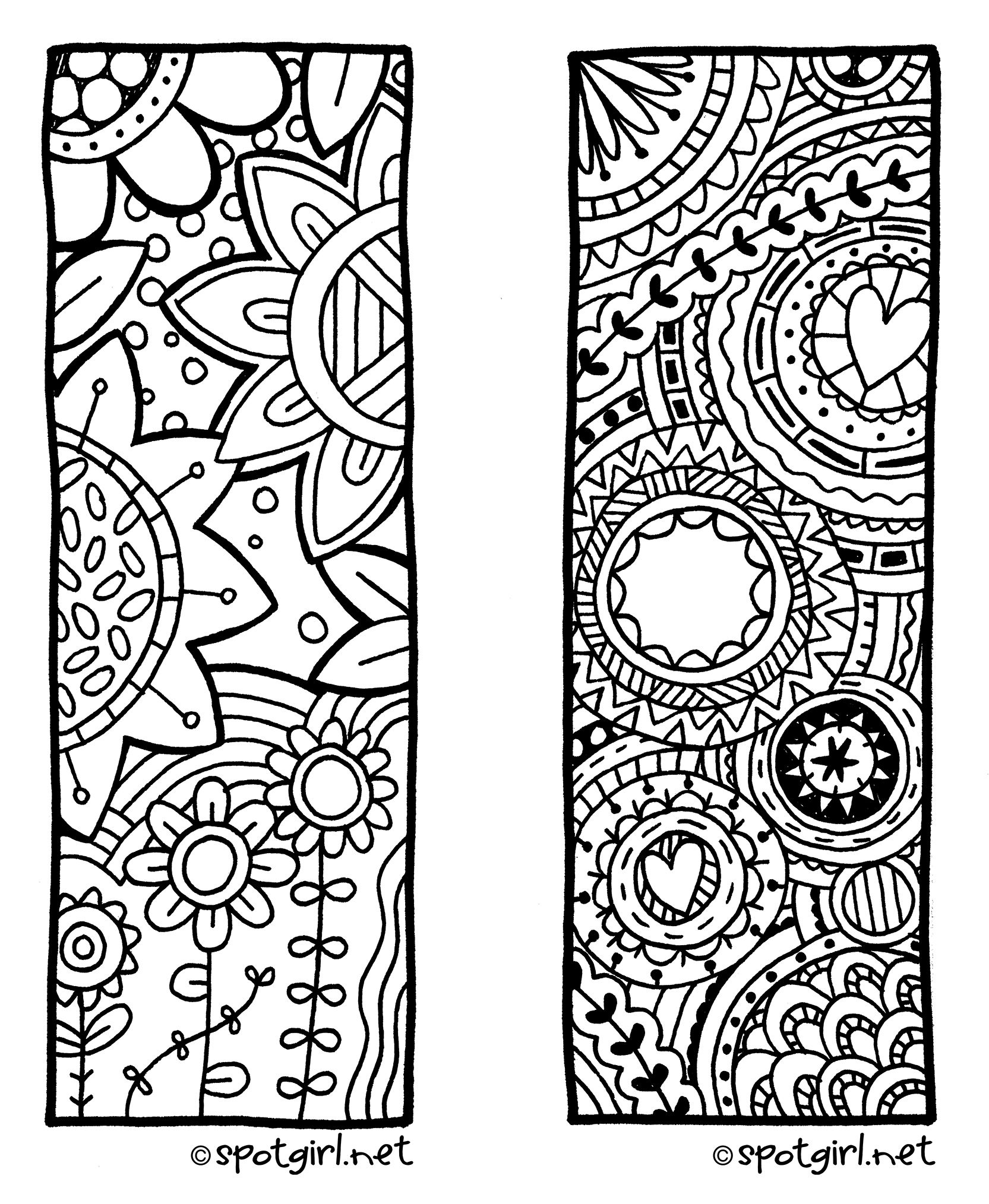 Zentangle Bookmark Printable From Spotgirl-Hotcakes.blogspot - Free Printable Zentangle Templates