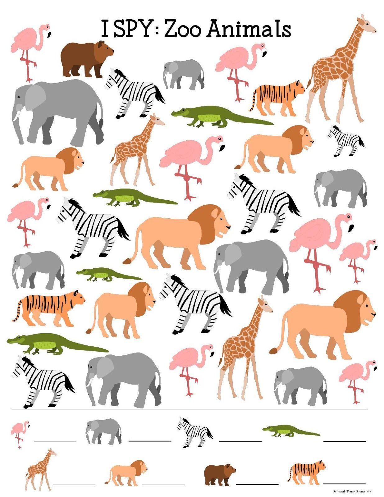 Zoo Theme I Spy Printable | Zoo | Pinterest | Zoo Preschool, Zoo - Free Printable Zoo Worksheets